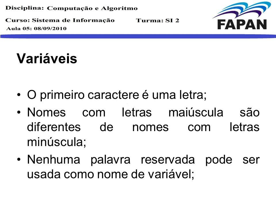 Características Forma Receita de Bolo; Regras estruturais; Palavras reservadas;