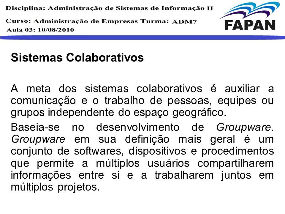 Sistemas Colaborativos A meta dos sistemas colaborativos é auxiliar a comunicação e o trabalho de pessoas, equipes ou grupos independente do espaço ge
