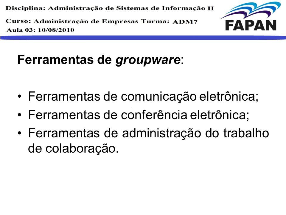 Ferramentas de groupware: Ferramentas de comunicação eletrônica; Ferramentas de conferência eletrônica; Ferramentas de administração do trabalho de co