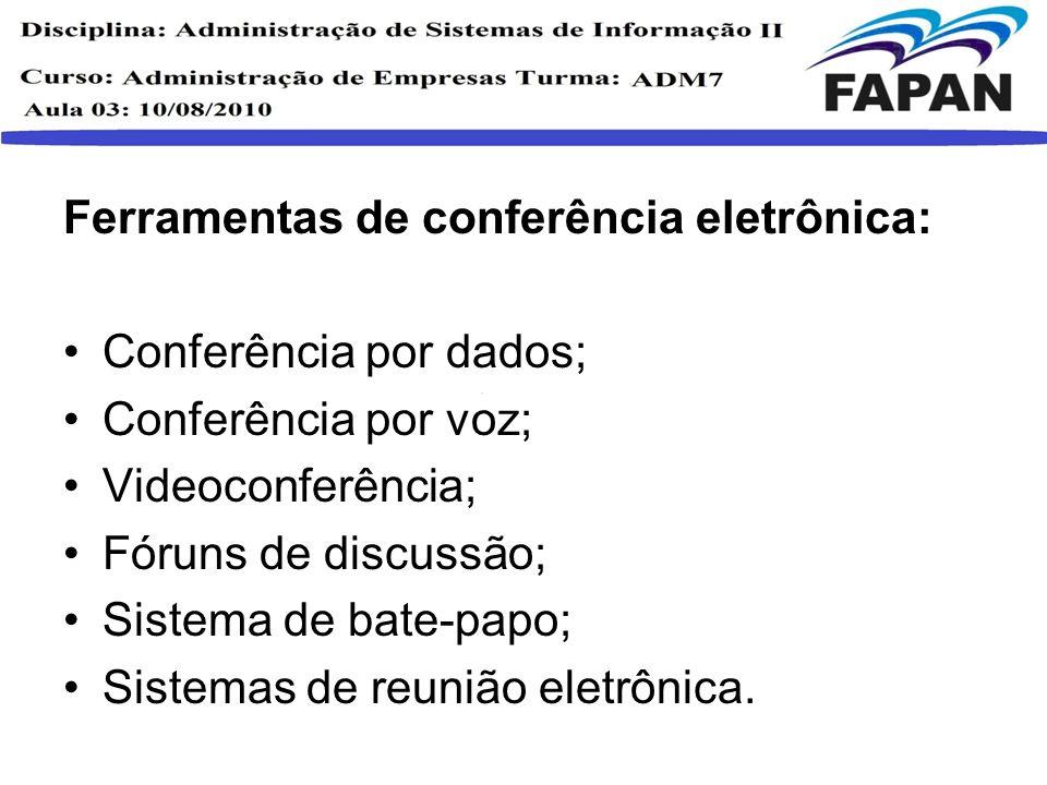 Ferramentas de conferência eletrônica: Conferência por dados; Conferência por voz; Videoconferência; Fóruns de discussão; Sistema de bate-papo; Sistem