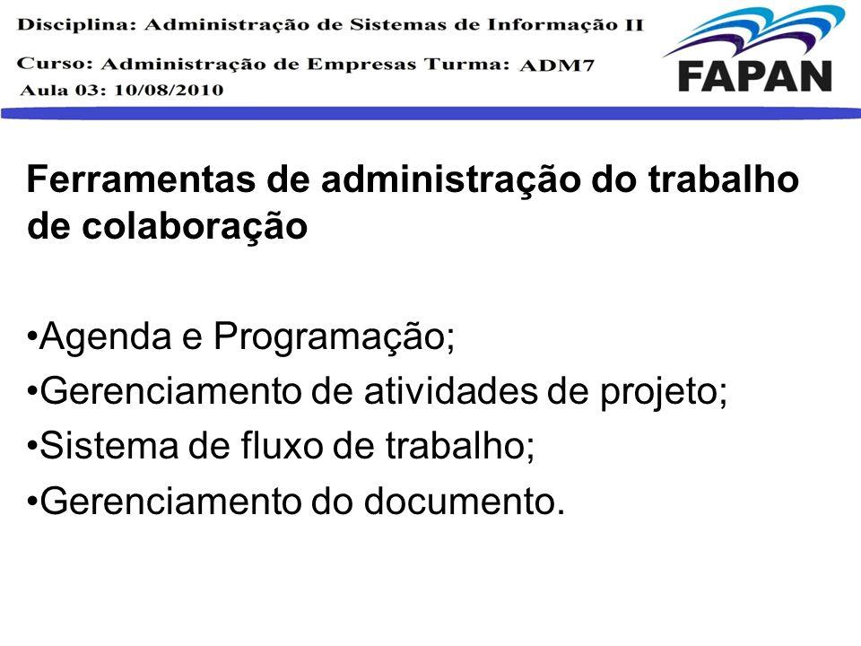 Ferramentas de administração do trabalho de colaboração Agenda e Programação; Gerenciamento de atividades de projeto; Sistema de fluxo de trabalho; Ge