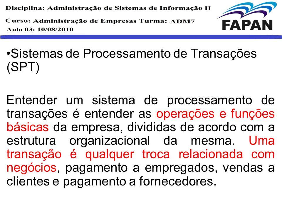 Sistemas de Processamento de Transações (SPT) Entender um sistema de processamento de transações é entender as operações e funções básicas da empresa,