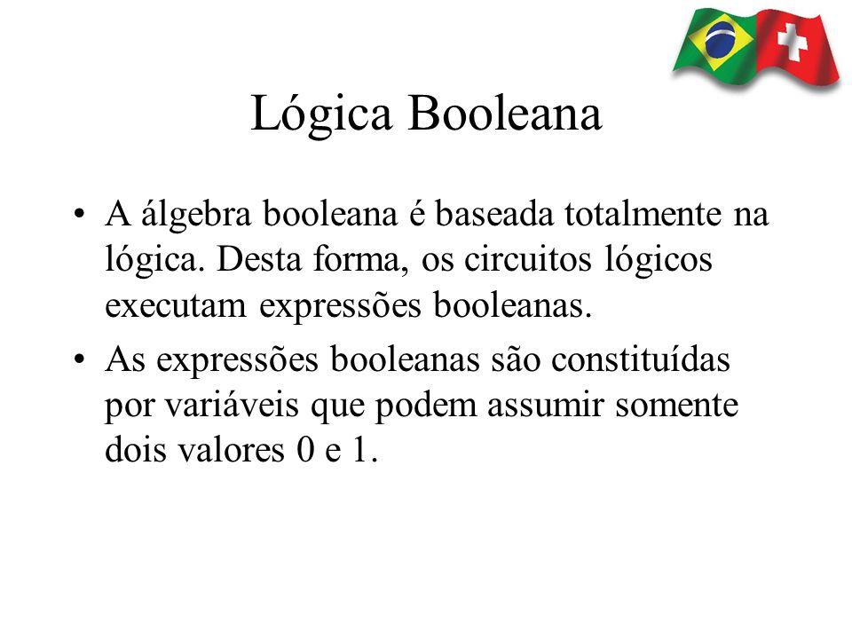 Lógica Booleana A álgebra booleana é baseada totalmente na lógica. Desta forma, os circuitos lógicos executam expressões booleanas. As expressões bool