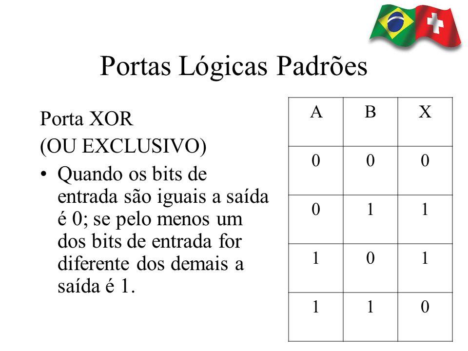 Portas Lógicas Padrões Porta XOR (OU EXCLUSIVO) Quando os bits de entrada são iguais a saída é 0; se pelo menos um dos bits de entrada for diferente d