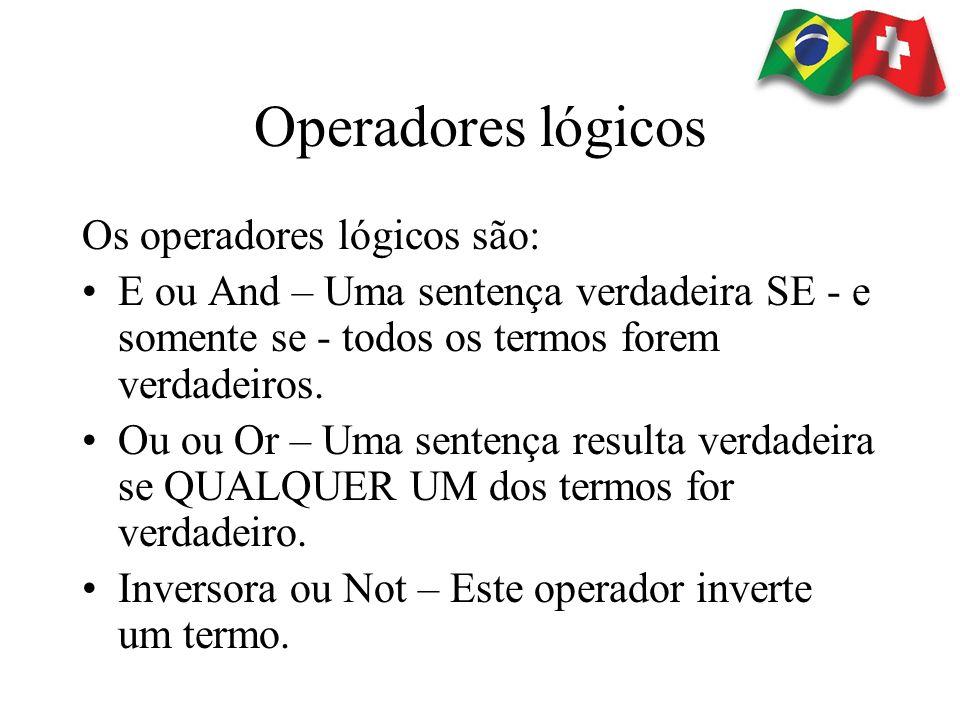Operadores lógicos Os operadores lógicos são: E ou And – Uma sentença verdadeira SE - e somente se - todos os termos forem verdadeiros. Ou ou Or – Uma