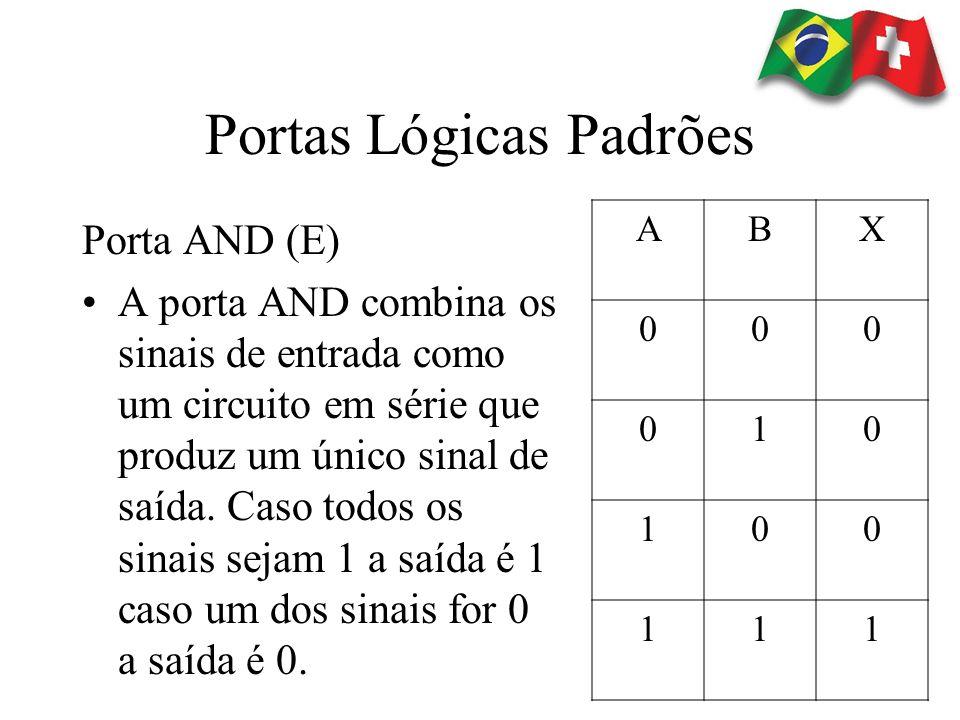 Portas Lógicas Padrões Porta AND (E) A porta AND combina os sinais de entrada como um circuito em série que produz um único sinal de saída. Caso todos