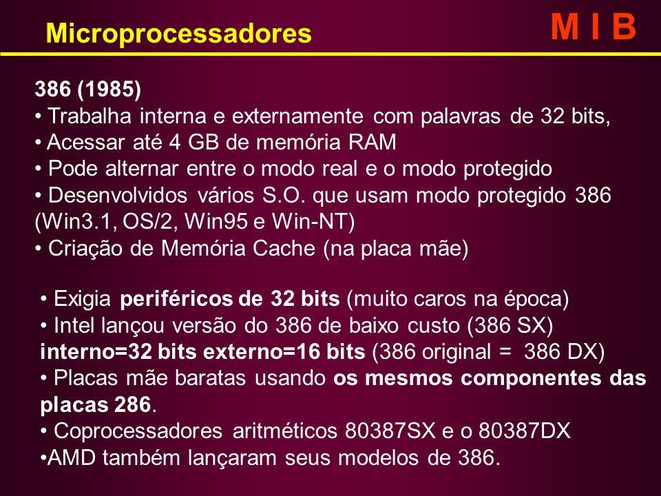 Microprocessadores M I B 386 (1985) Trabalha interna e externamente com palavras de 32 bits, Acessar até 4 GB de memória RAM Pode alternar entre o mod