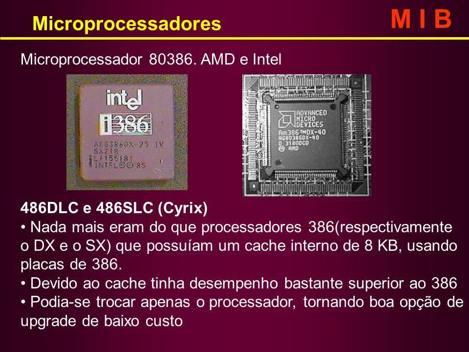 Microprocessadores M I B 486DLC e 486SLC (Cyrix) Nada mais eram do que processadores 386(respectivamente o DX e o SX) que possuíam um cache interno de