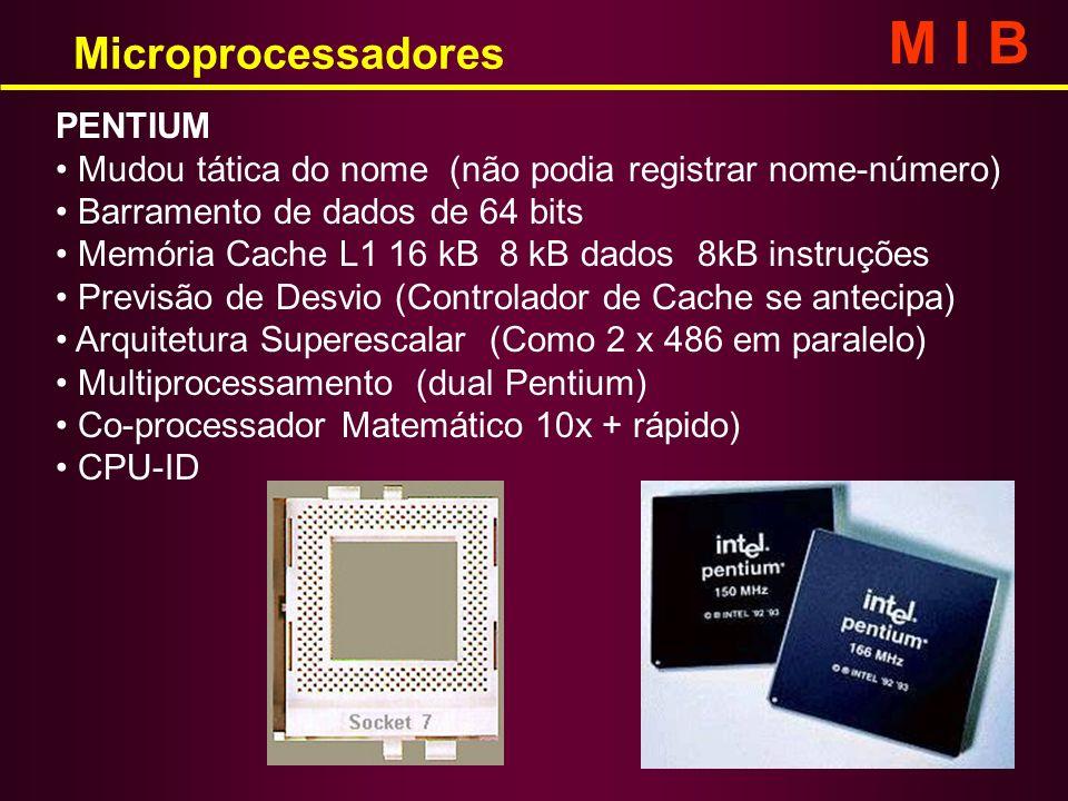 PENTIUM Mudou tática do nome (não podia registrar nome-número) Barramento de dados de 64 bits Memória Cache L1 16 kB 8 kB dados 8kB instruções Previsã