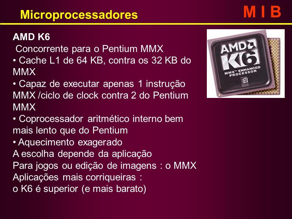 AMD K6 Concorrente para o Pentium MMX Cache L1 de 64 KB, contra os 32 KB do MMX Capaz de executar apenas 1 instrução MMX /ciclo de clock contra 2 do P
