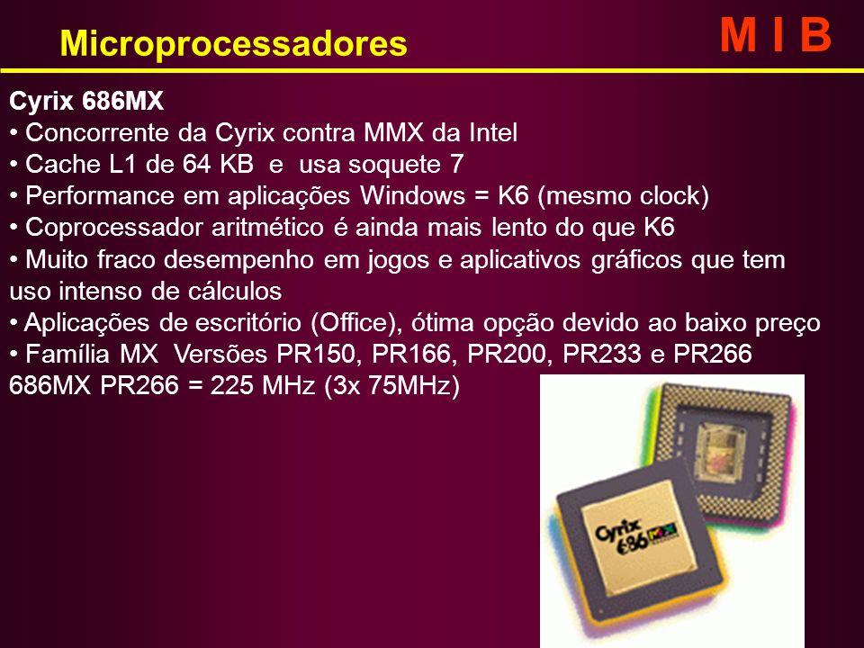 Microprocessadores M I B Cyrix 686MX Concorrente da Cyrix contra MMX da Intel Cache L1 de 64 KB e usa soquete 7 Performance em aplicações Windows = K6