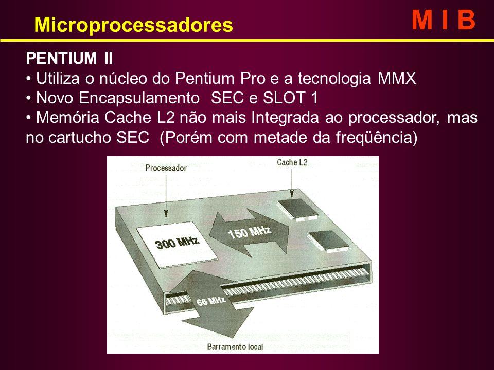 Microprocessadores M I B PENTIUM II Utiliza o núcleo do Pentium Pro e a tecnologia MMX Novo Encapsulamento SEC e SLOT 1 Memória Cache L2 não mais Inte