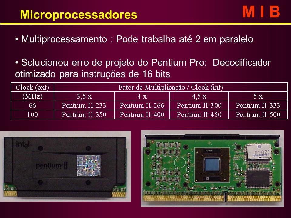 Microprocessadores M I B Multiprocessamento : Pode trabalha até 2 em paralelo Solucionou erro de projeto do Pentium Pro: Decodificador otimizado para