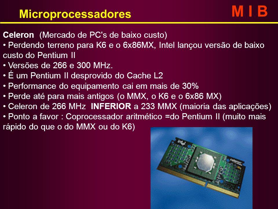 Microprocessadores M I B Celeron (Mercado de PC's de baixo custo) Perdendo terreno para K6 e o 6x86MX, Intel lançou versão de baixo custo do Pentium I