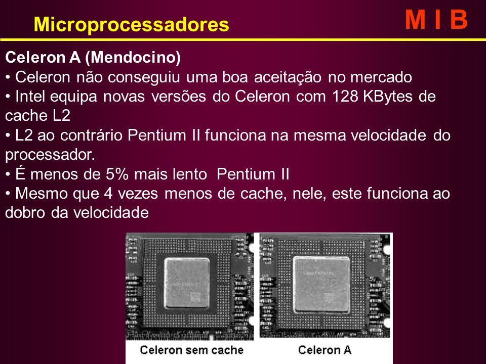 Celeron A (Mendocino) Celeron não conseguiu uma boa aceitação no mercado Intel equipa novas versões do Celeron com 128 KBytes de cache L2 L2 ao contrá