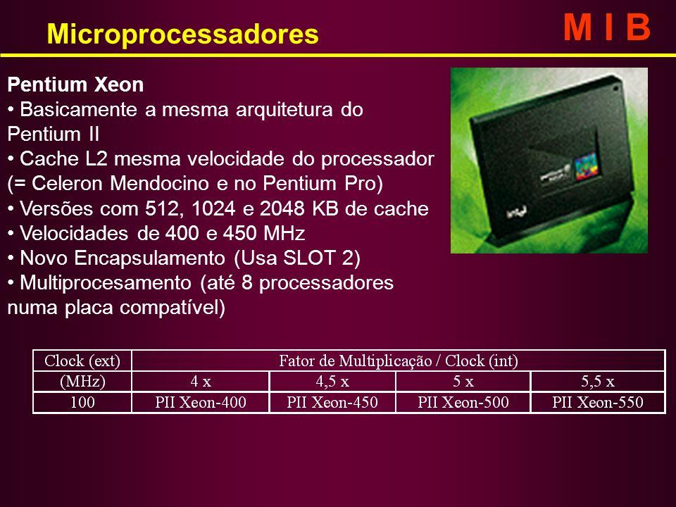 Microprocessadores M I B Pentium Xeon Basicamente a mesma arquitetura do Pentium II Cache L2 mesma velocidade do processador (= Celeron Mendocino e no