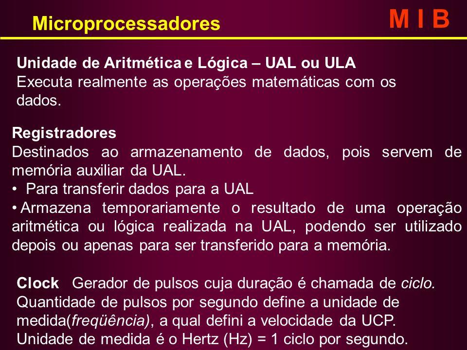 Unidade de Aritmética e Lógica – UAL ou ULA Executa realmente as operações matemáticas com os dados. Registradores Destinados ao armazenamento de dado