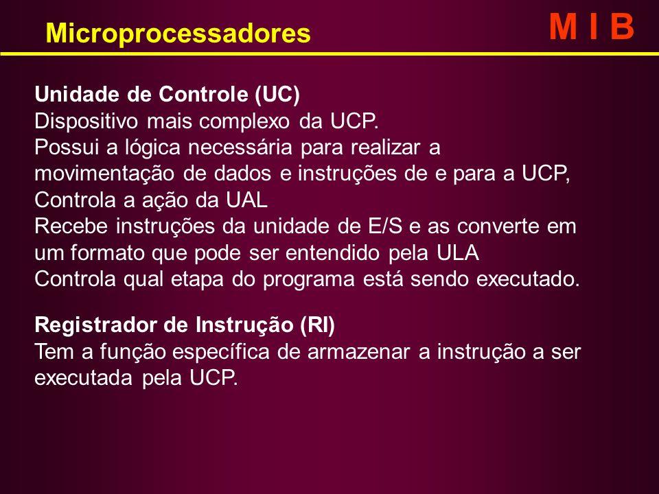 Unidade de Controle (UC) Dispositivo mais complexo da UCP. Possui a lógica necessária para realizar a movimentação de dados e instruções de e para a U