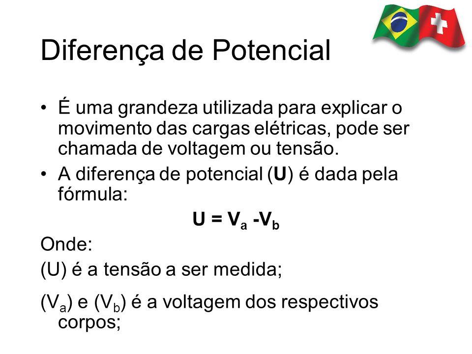 Diferença de Potencial É uma grandeza utilizada para explicar o movimento das cargas elétricas, pode ser chamada de voltagem ou tensão. A diferença de