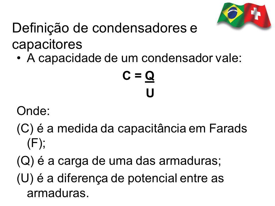 A capacidade de um condensador vale: C = Q U Onde: (C) é a medida da capacitância em Farads (F); (Q) é a carga de uma das armaduras; (U) é a diferença