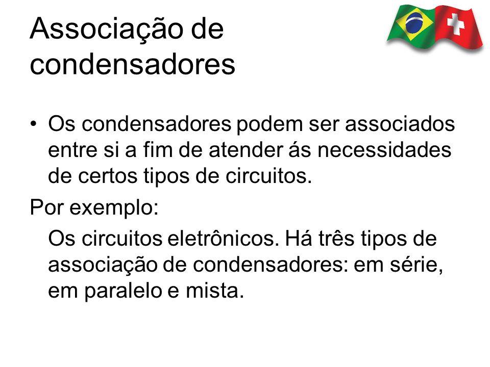 Associação de condensadores Os condensadores podem ser associados entre si a fim de atender ás necessidades de certos tipos de circuitos. Por exemplo: