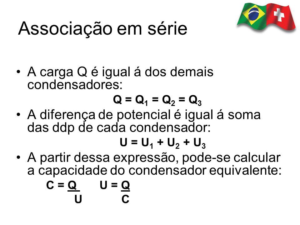 A carga Q é igual á dos demais condensadores: Q = Q 1 = Q 2 = Q 3 A diferença de potencial é igual á soma das ddp de cada condensador: U = U 1 + U 2 +