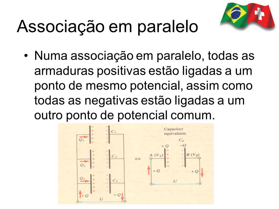 Numa associação em paralelo, todas as armaduras positivas estão ligadas a um ponto de mesmo potencial, assim como todas as negativas estão ligadas a u