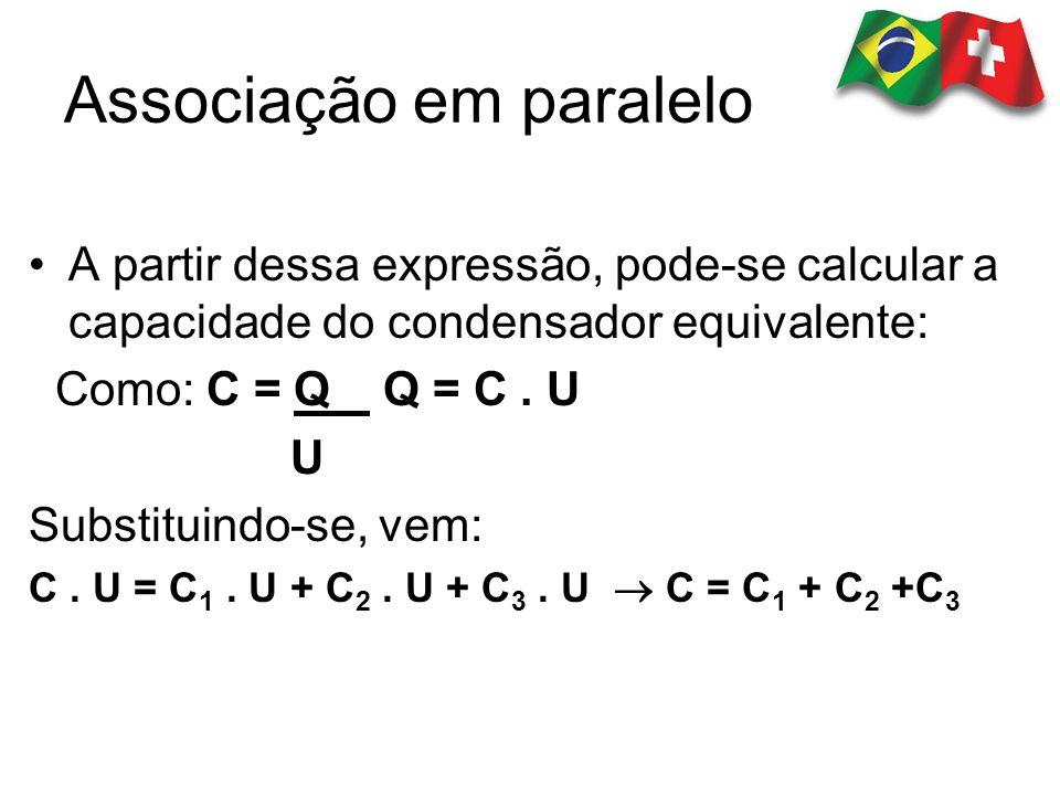 A partir dessa expressão, pode-se calcular a capacidade do condensador equivalente: Como: C = Q Q = C. U U Substituindo-se, vem: C. U = C 1. U + C 2.