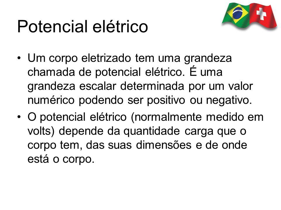 Potencial elétrico Um corpo eletrizado tem uma grandeza chamada de potencial elétrico. É uma grandeza escalar determinada por um valor numérico podend