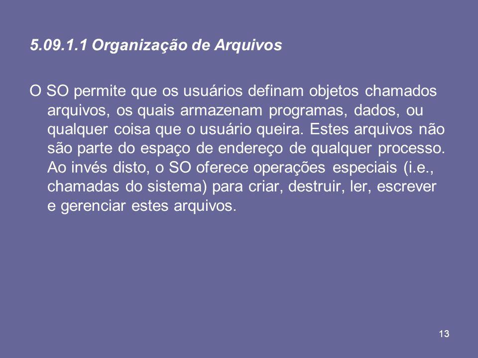 13 5.09.1.1 Organização de Arquivos O SO permite que os usuários definam objetos chamados arquivos, os quais armazenam programas, dados, ou qualquer c