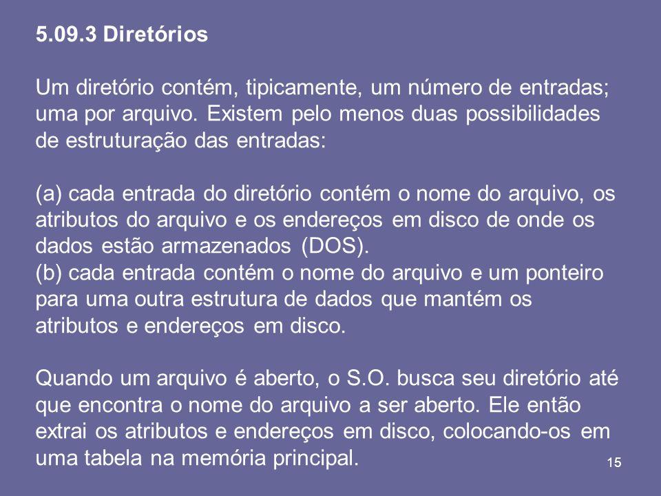 15 5.09.3 Diretórios Um diretório contém, tipicamente, um número de entradas; uma por arquivo. Existem pelo menos duas possibilidades de estruturação