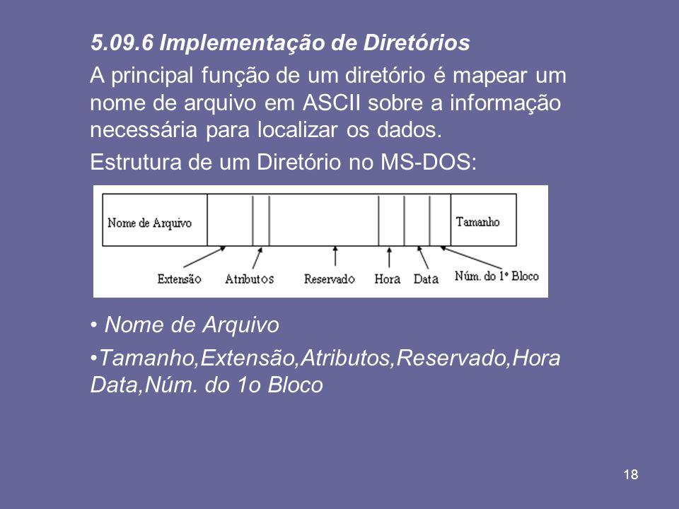 18 5.09.6 Implementação de Diretórios A principal função de um diretório é mapear um nome de arquivo em ASCII sobre a informação necessária para local