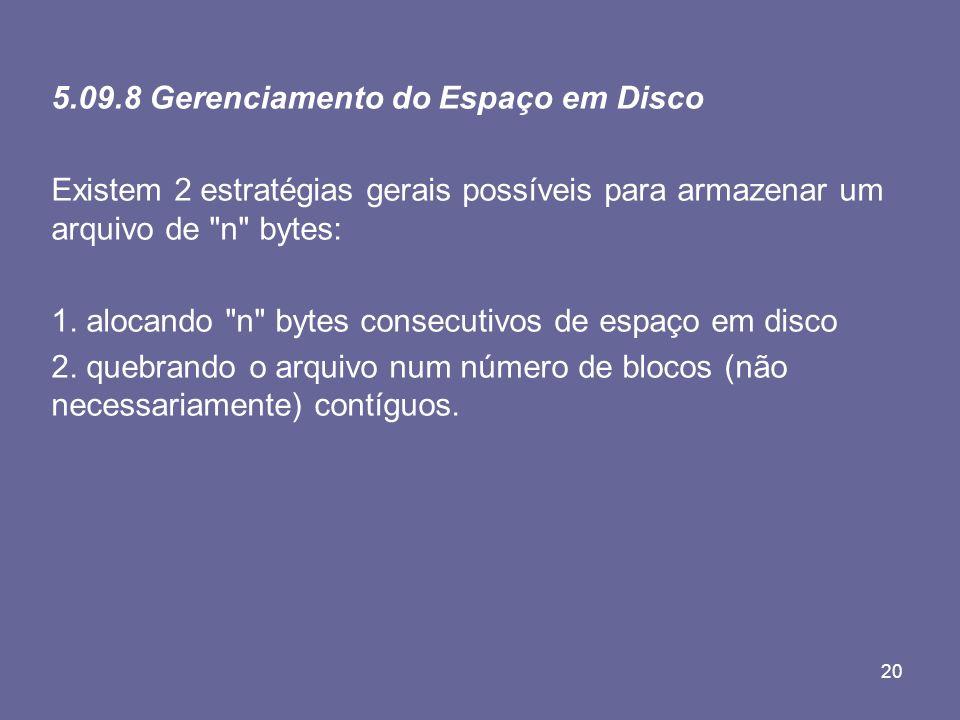 20 5.09.8 Gerenciamento do Espaço em Disco Existem 2 estratégias gerais possíveis para armazenar um arquivo de