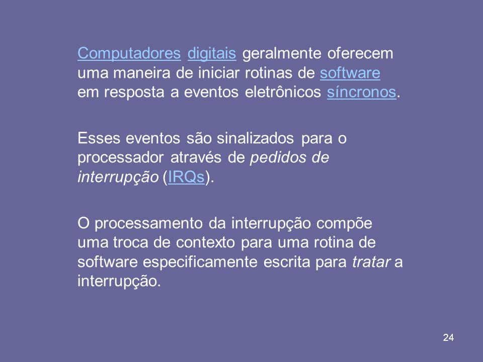 24 ComputadoresComputadores digitais geralmente oferecem uma maneira de iniciar rotinas de software em resposta a eventos eletrônicos síncronos.digita
