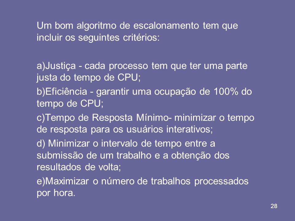28 Um bom algoritmo de escalonamento tem que incluir os seguintes critérios: a)Justiça - cada processo tem que ter uma parte justa do tempo de CPU; b)