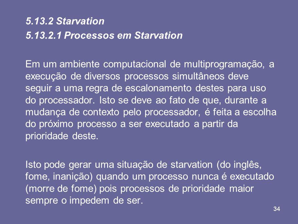 34 5.13.2 Starvation 5.13.2.1 Processos em Starvation Em um ambiente computacional de multiprogramação, a execução de diversos processos simultâneos d