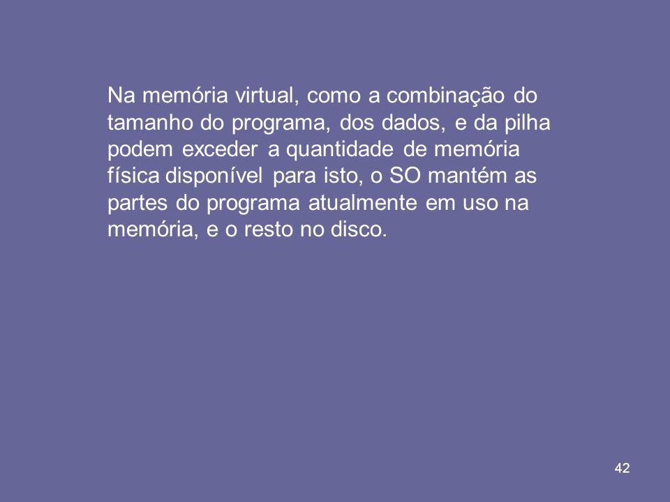42 Na memória virtual, como a combinação do tamanho do programa, dos dados, e da pilha podem exceder a quantidade de memória física disponível para is
