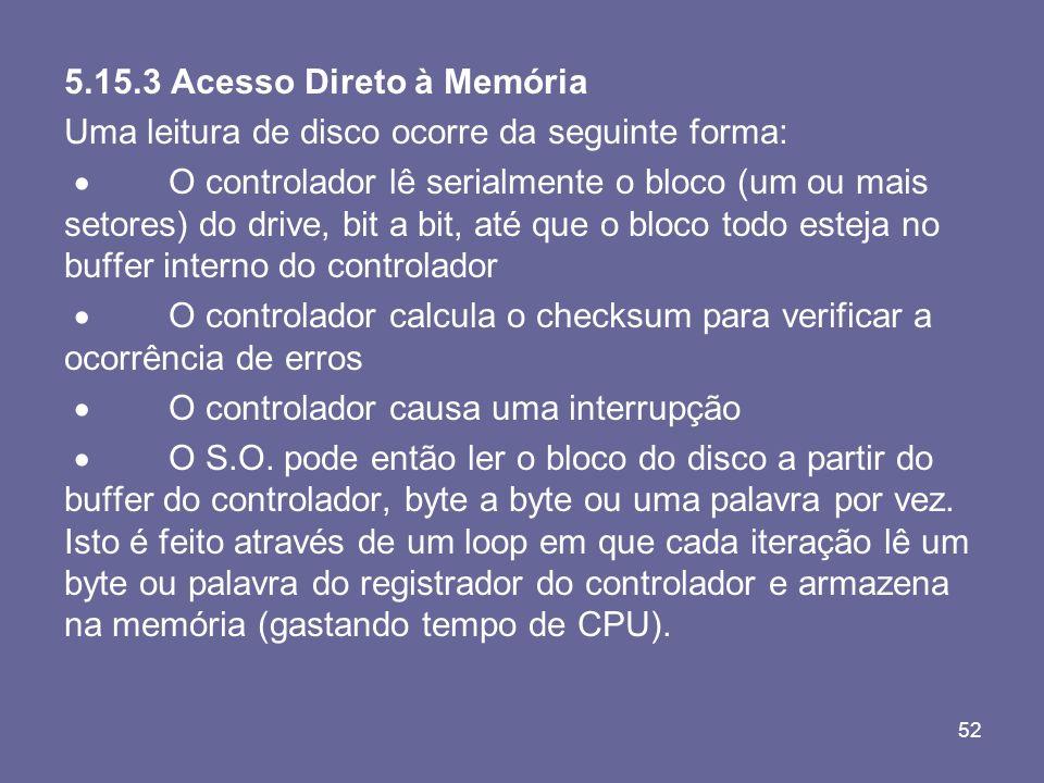 52 5.15.3 Acesso Direto à Memória Uma leitura de disco ocorre da seguinte forma: O controlador lê serialmente o bloco (um ou mais setores) do drive, b