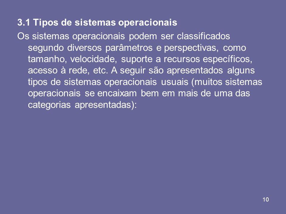10 3.1 Tipos de sistemas operacionais Os sistemas operacionais podem ser classificados segundo diversos parâmetros e perspectivas, como tamanho, veloc