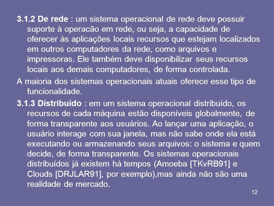 12 3.1.2 De rede : um sistema operacional de rede deve possuir suporte à operacão em rede, ou seja, a capacidade de oferecer às aplicações locais recu
