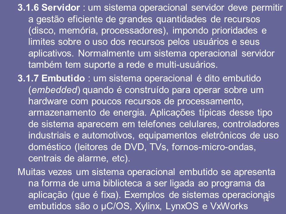 14 3.1.6 Servidor : um sistema operacional servidor deve permitir a gestão eficiente de grandes quantidades de recursos (disco, memória, processadores