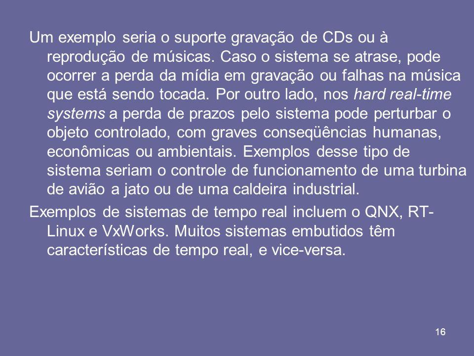 16 Um exemplo seria o suporte gravação de CDs ou à reprodução de músicas. Caso o sistema se atrase, pode ocorrer a perda da mídia em gravação ou falha
