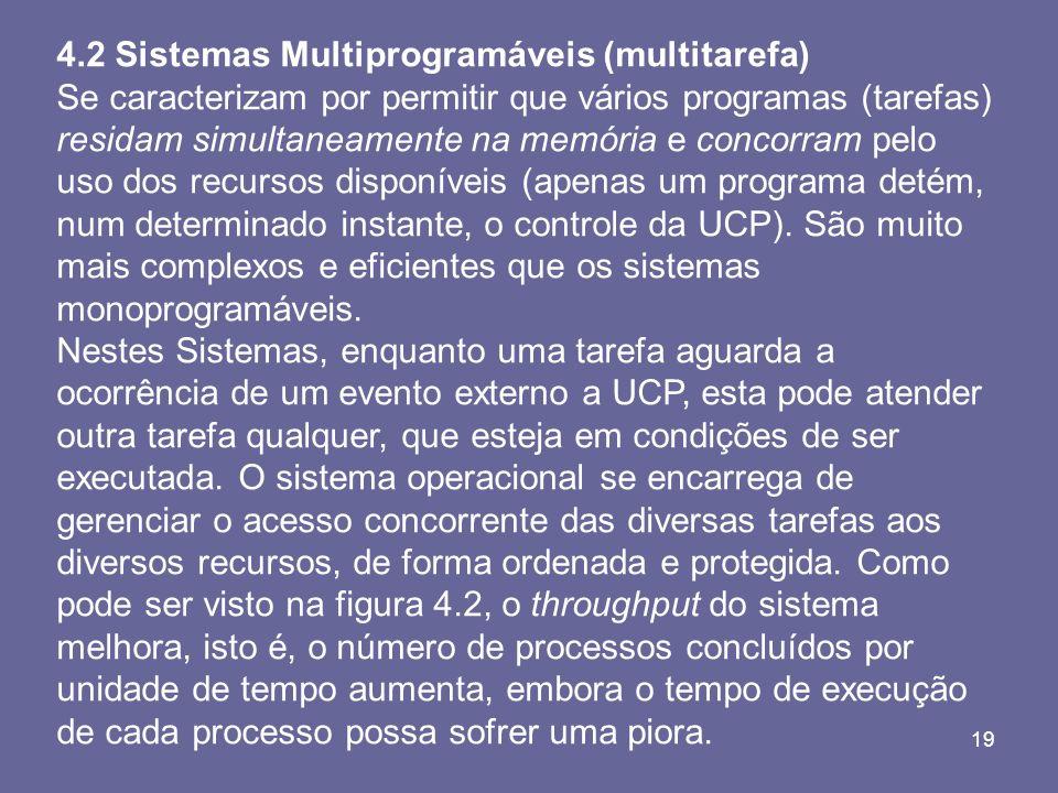 19 4.2 Sistemas Multiprogramáveis (multitarefa) Se caracterizam por permitir que vários programas (tarefas) residam simultaneamente na memória e conco