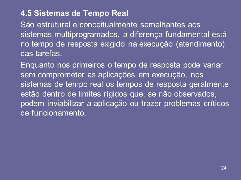 24 4.5 Sistemas de Tempo Real São estrutural e conceitualmente semelhantes aos sistemas multiprogramados, a diferença fundamental está no tempo de res