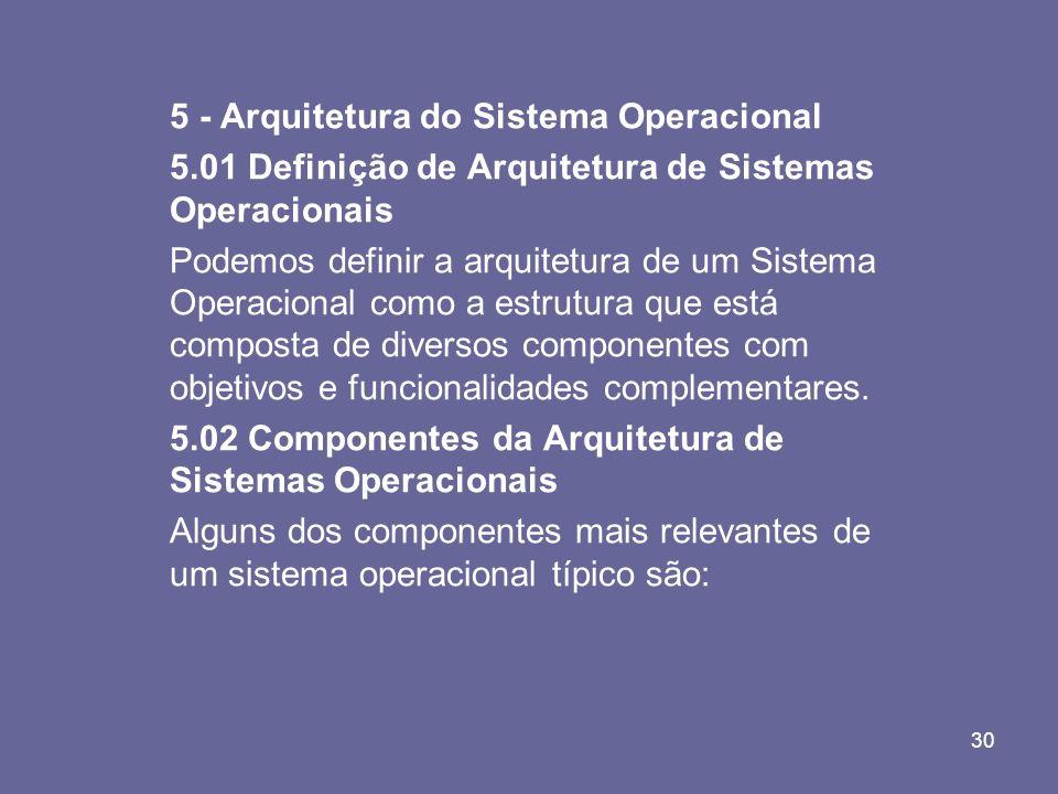 30 5 - Arquitetura do Sistema Operacional 5.01 Definição de Arquitetura de Sistemas Operacionais Podemos definir a arquitetura de um Sistema Operacion