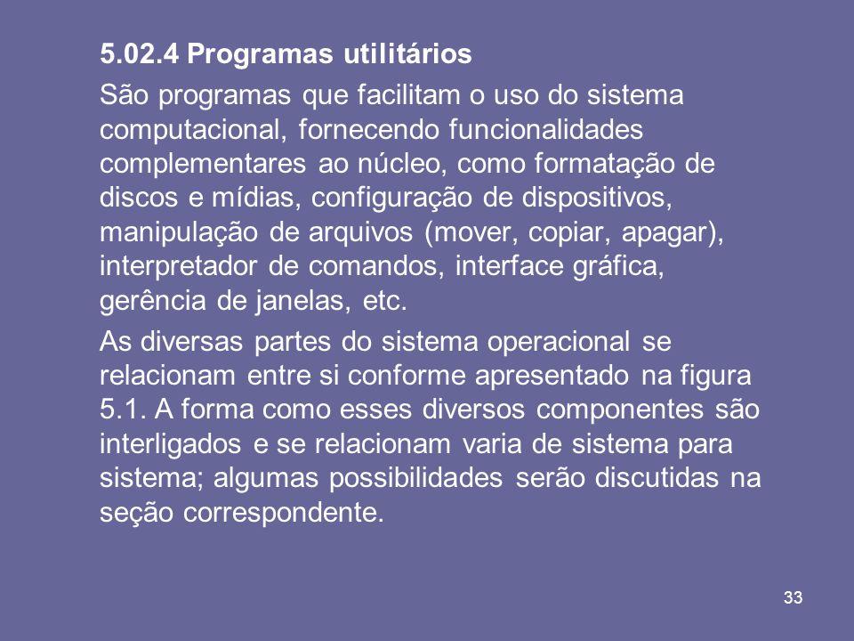 33 5.02.4 Programas utilitários São programas que facilitam o uso do sistema computacional, fornecendo funcionalidades complementares ao núcleo, como