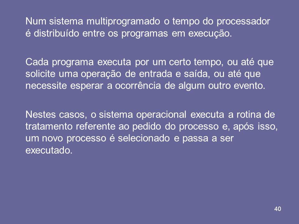 40 Num sistema multiprogramado o tempo do processador é distribuído entre os programas em execução. Cada programa executa por um certo tempo, ou até q