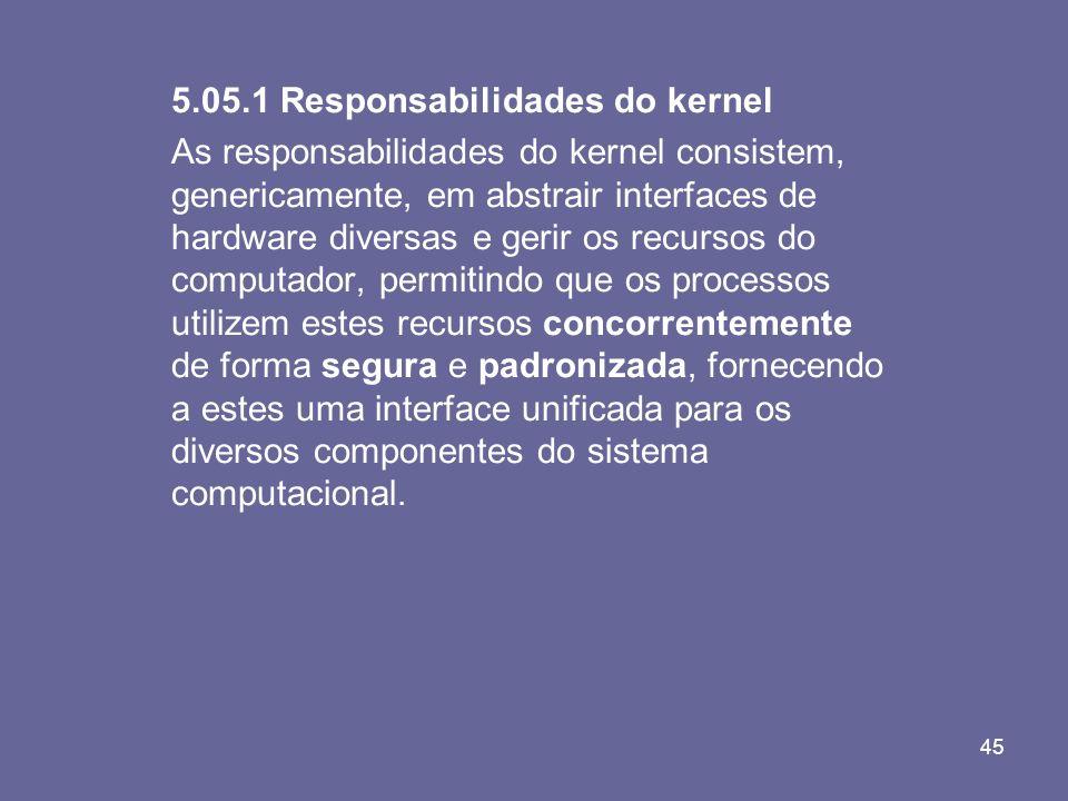 45 5.05.1 Responsabilidades do kernel As responsabilidades do kernel consistem, genericamente, em abstrair interfaces de hardware diversas e gerir os