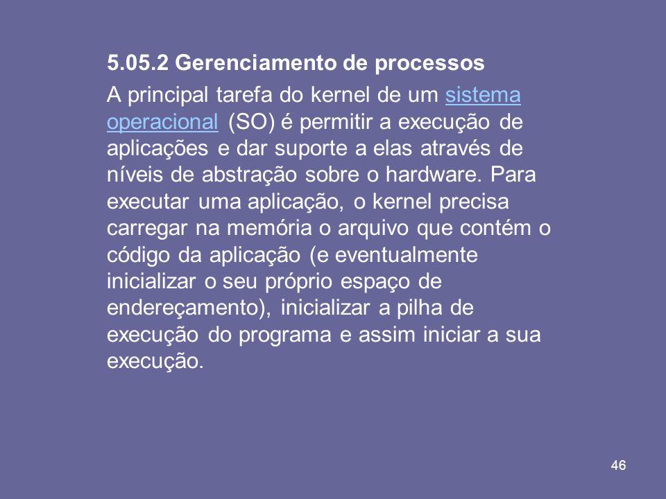 46 5.05.2 Gerenciamento de processos A principal tarefa do kernel de um sistema operacional (SO) é permitir a execução de aplicações e dar suporte a e