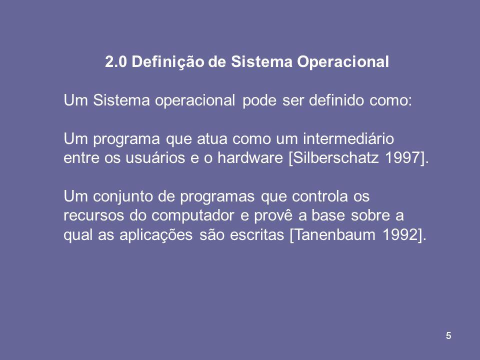 5 2.0 Definição de Sistema Operacional Um Sistema operacional pode ser definido como: Um programa que atua como um intermediário entre os usuários e o
